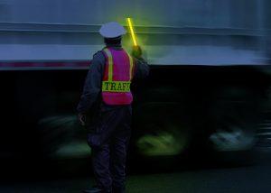 Kontrolle der LKW Ladung durch die Polizei