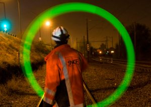 Notfallsignal bei Gleisbauarbeiten
