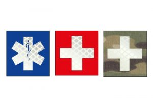 Patch mit Heroldstab Kreuz oder medizinische Hilfe Kreuz