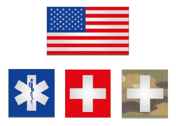 reflektierende Fahne oder Kreuzzeichen medizinische Hilfe
