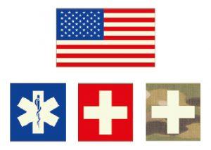 Fahne oder Patch mit nachleuchtenden Kreuzzeichen