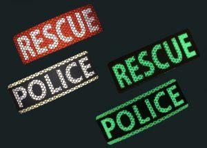 Reflektierende und nachleuchtende Schilder Polizei medizinische Hilfe