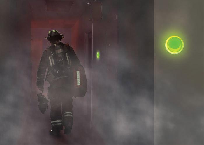 runder leuchtender Marker für Evakuierung leuchtenden Weg