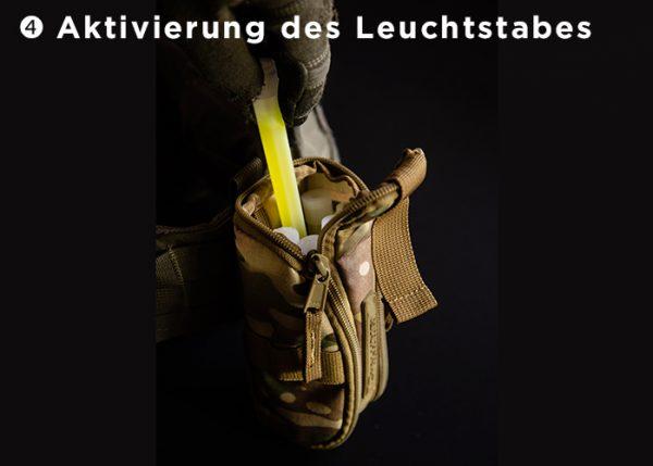 Aktivierung des Leuchtstaebes in Cyalume CyPouch Gehäuse